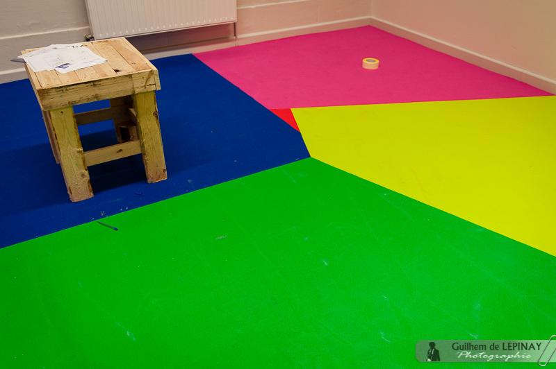Une salle qui promet d'être très colorée !